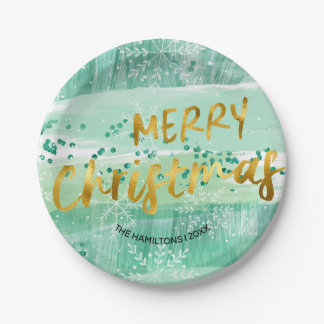 Merry Christmas Green Watercolor and Gold Foil Paper Plate