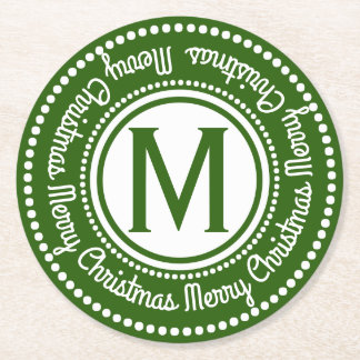 Merry Christmas Green & White Holiday Monogram Round Paper Coaster