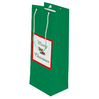 Merry Christmas Green Wine Gift Bag by Janz