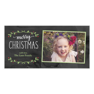 Merry Christmas Greenery Photo Card