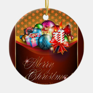 Merry Christmas Greeting Card Round Ceramic Ornament