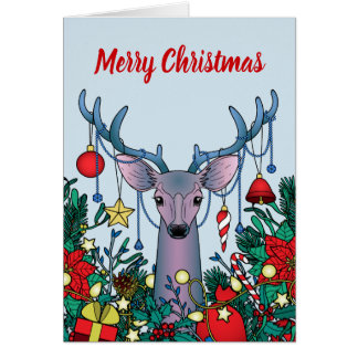 Merry Christmas Greeting Card with Christmas Deer