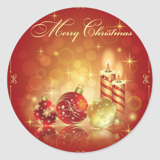 Merry Christmas greeting cards Classic Round Sticker