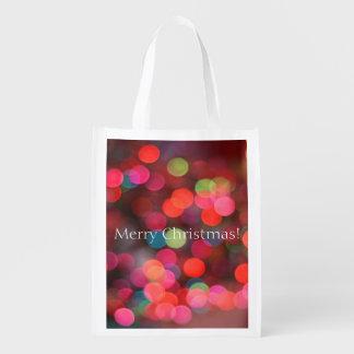 Merry Christmas Greeting Colorful Bokeh Lights Reusable Grocery Bag