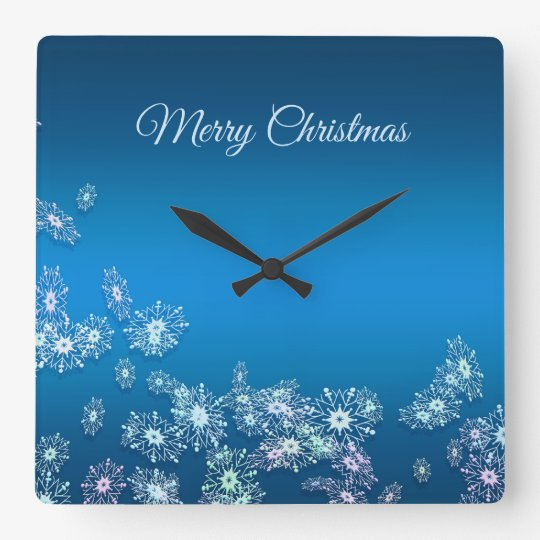 Merry Christmas. Greeting. Square Wall Clock