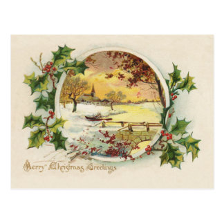 Merry Christmas Greetings Vintage Postcard