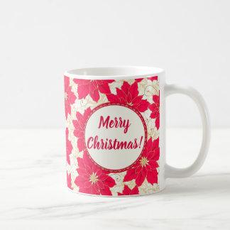 Merry Christmas Greetings, with Red Poinsettias Coffee Mug
