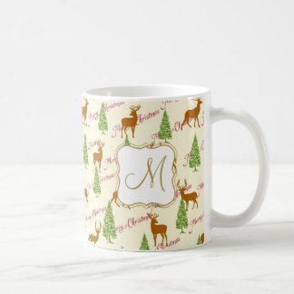 Merry Christmas greetings with reindeers and pine Coffee Mug