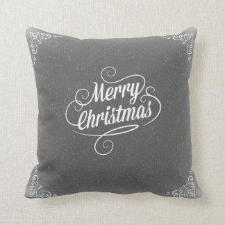 Merry Christmas Grey Snowy Cushion