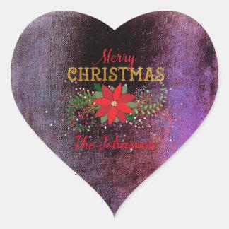 Merry Christmas Grungy Burgundy Heart Heart Sticker