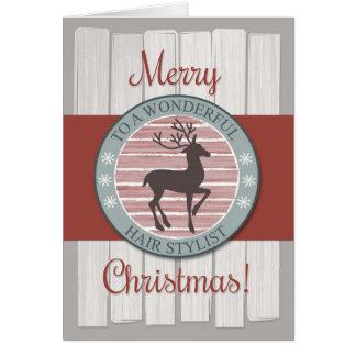 Merry Christmas Hair Stylist with Rustic Reindeer Card