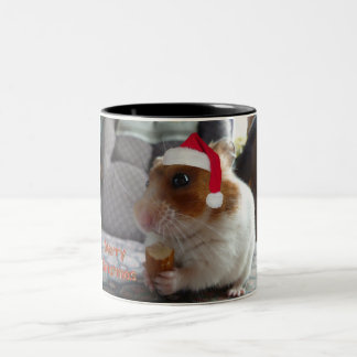 Merry Christmas Hamster Two-Tone Coffee Mug