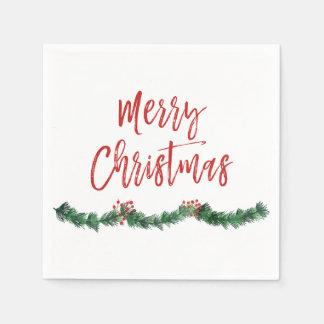 Merry Christmas Hand Lettered Script Christmas Paper Napkin