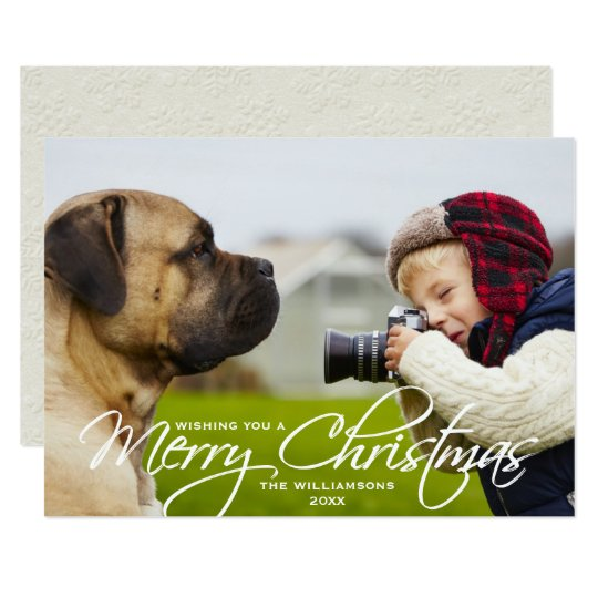 Merry Christmas Hand-lettered Script Photo Card