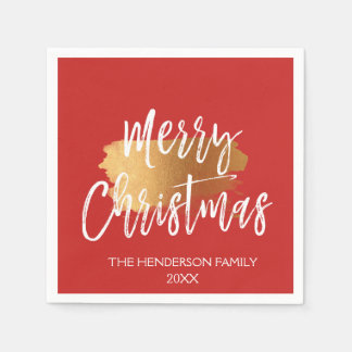 Merry Christmas Hand Lettered Script with Gold Disposable Napkins