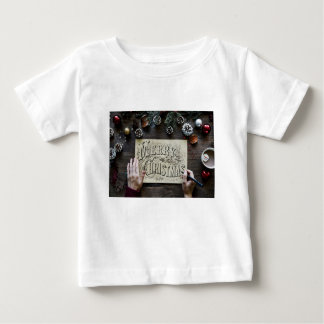 Merry Christmas handwriting calligraphy letters Baby T-Shirt