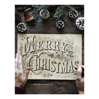 Merry Christmas handwriting calligraphy letters Letterhead