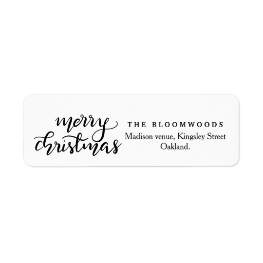 Merry Christmas Handwritten Black Script Return Address Label