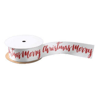 Merry Christmas Handwritten Red Script Holiday Satin Ribbon
