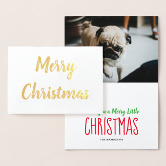 Merry Christmas Handwritten Script Holiday Photo Foil Card