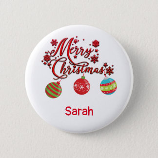 Merry Christmas Hanging Ornaments 2 Inch Round Button