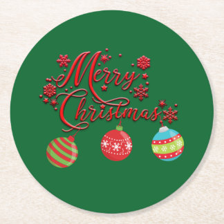 Merry Christmas Hanging Ornaments Round Paper Coaster