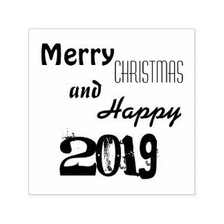 Merry Christmas Happy 2019 Typography Stamp