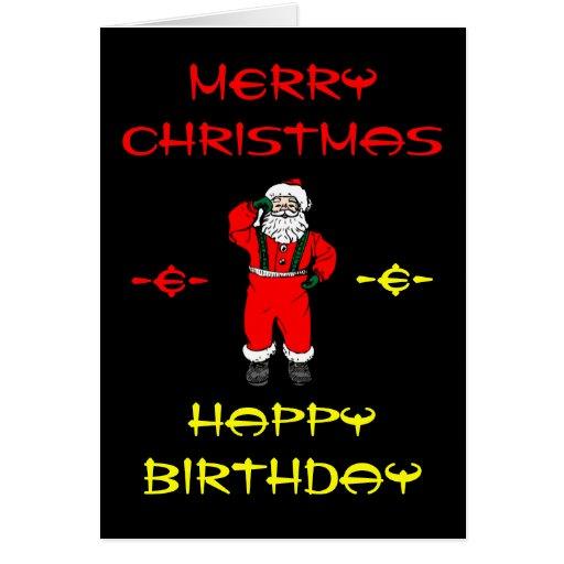 Merry Christmas Happy Birthday Cards Zazzle Happy Birthday And Merry Wishes