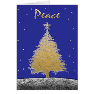 Merry Christmas, Happy Holidays Gold Tree Peace Card