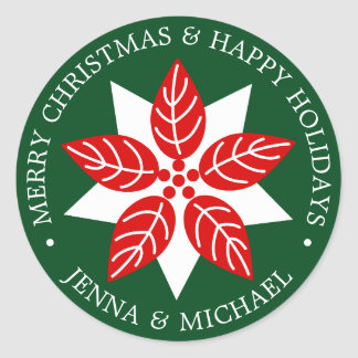 Merry Christmas | Happy Holidays Modern Poinsettia Classic Round Sticker