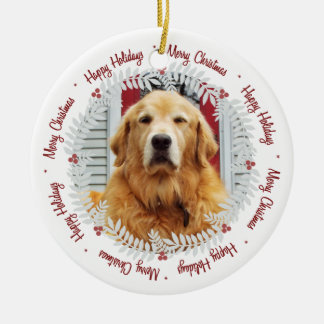 Merry Christmas | Happy Holidays Photo Ornament