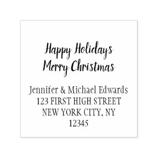Merry christmas Happy holidays script self inking Self-inking Stamp