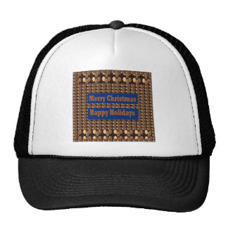 Merry Christmas  Happy Holidays Text Template GIFT Trucker Hats