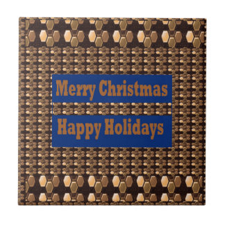 Merry Christmas  Happy Holidays Text Template GIFT Tile