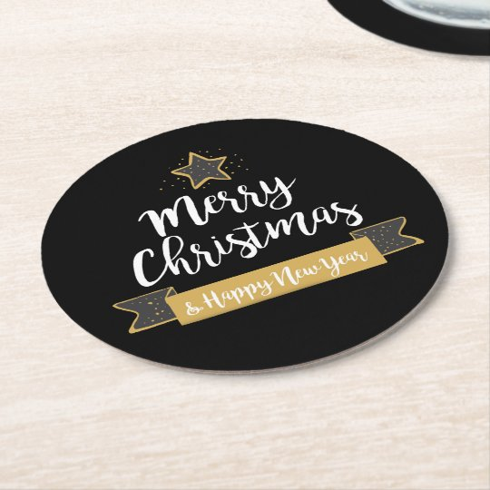 Merry Christmas Happy New Year Chalkboard Holiday Round Paper Coaster