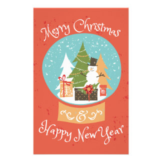 Merry Christmas Happy New Year Customized Stationery