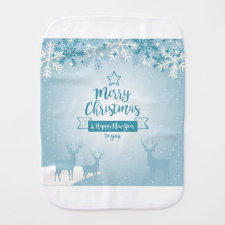 Merry Christmas & Happy New Year Elegant Unique Burp Cloth