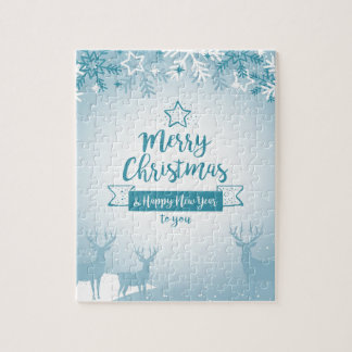 Merry Christmas & Happy New Year Elegant Unique Jigsaw Puzzle