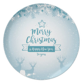 Merry Christmas & Happy New Year Elegant Unique Party Plates