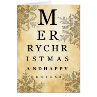 Merry Christmas & Happy New Year Eye Chart Card