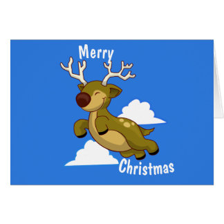 Merry Christmas & Happy New Year Flying Reindeer Card