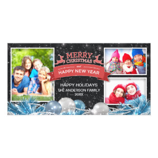 Merry Christmas & Happy New Year Greeting Photo Personalized Photo Card