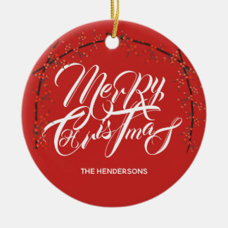 Merry Christmas Happy New Year - Name & Date - Ceramic Ornament
