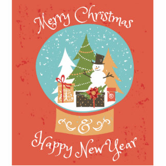 Merry Christmas Happy New Year Photo Sculpture Button