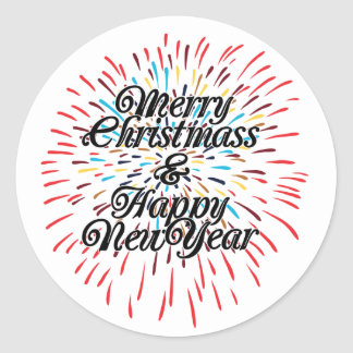 Merry Christmas Happy New Year Round Sticker
