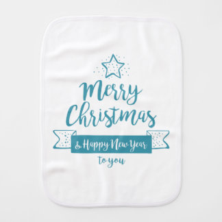 Merry Christmas & Happy New Year Simple Elegant Burp Cloth