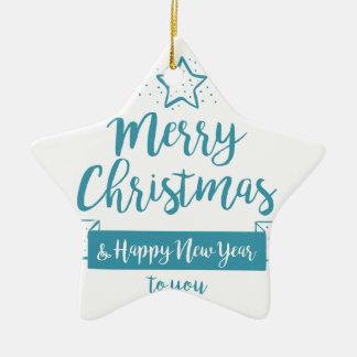 Merry Christmas & Happy New Year Simple Elegant Ceramic Ornament