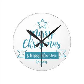 Merry Christmas & Happy New Year Simple Elegant Clocks
