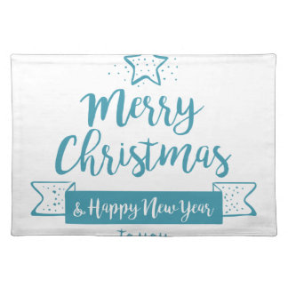 Merry Christmas & Happy New Year Simple Elegant Placemat