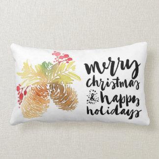 Merry Christmas & Happy New Year Watercolor Lumbar Pillow